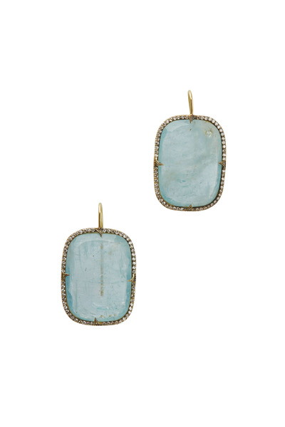 Sylva & Cie - Yellow Gold Aqua & Diamond Earrings