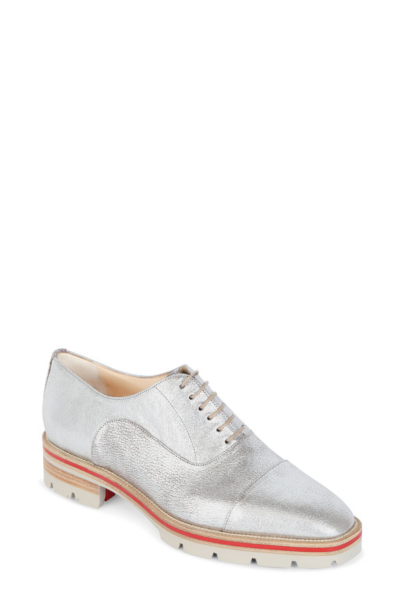 Christian Louboutin Hubertus Donna Silver Leather Lace-Up Oxford