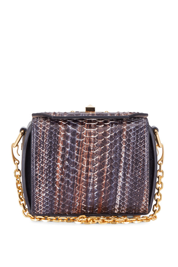Alexander McQueen Multicolor Python Small Box Bag With Chain