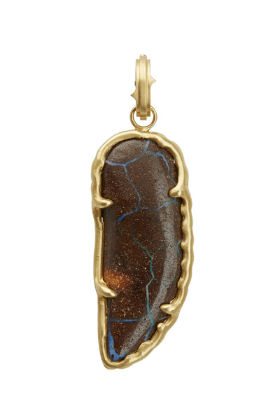 Sylva & Cie - Yellow Gold Hand-Carved Opal Wing Pendant