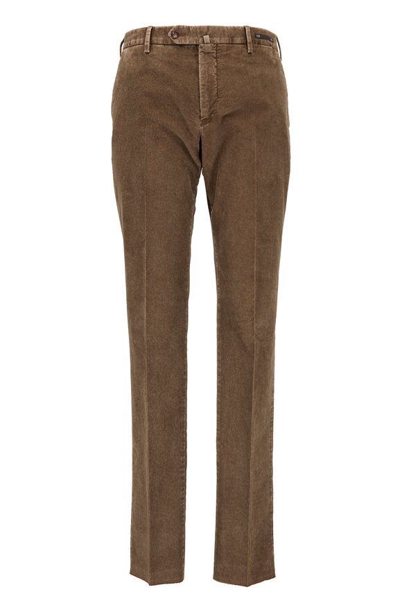 PT01 Dark Tan Corduroy Slim Fit Pant