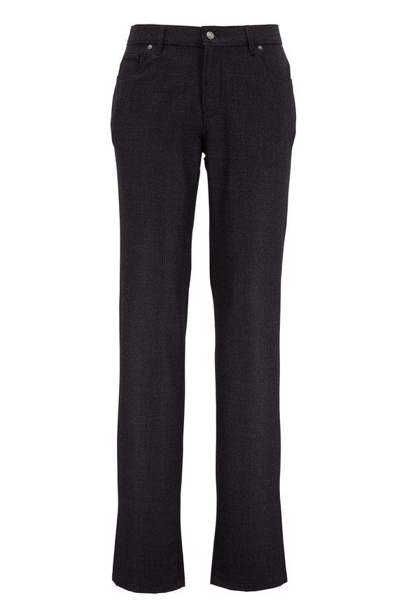 Hiltl Kent Charcoal Wool Check Five Pocket Pant