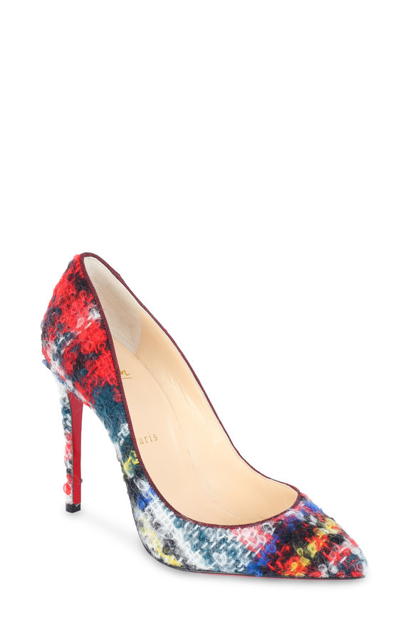 Christian Louboutin Pigalle Follies Tartan Bouclé Pump, 100mm