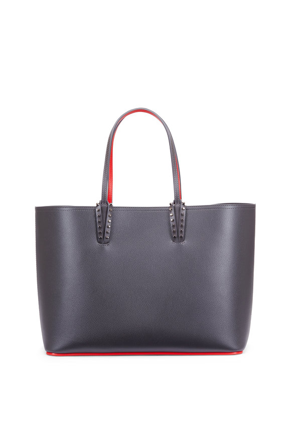 Christian Louboutin Cabata Grey & Red Leather Studded Tote