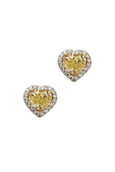 Louis Newman - White & Yellow Diamond Heart Stud Earrings
