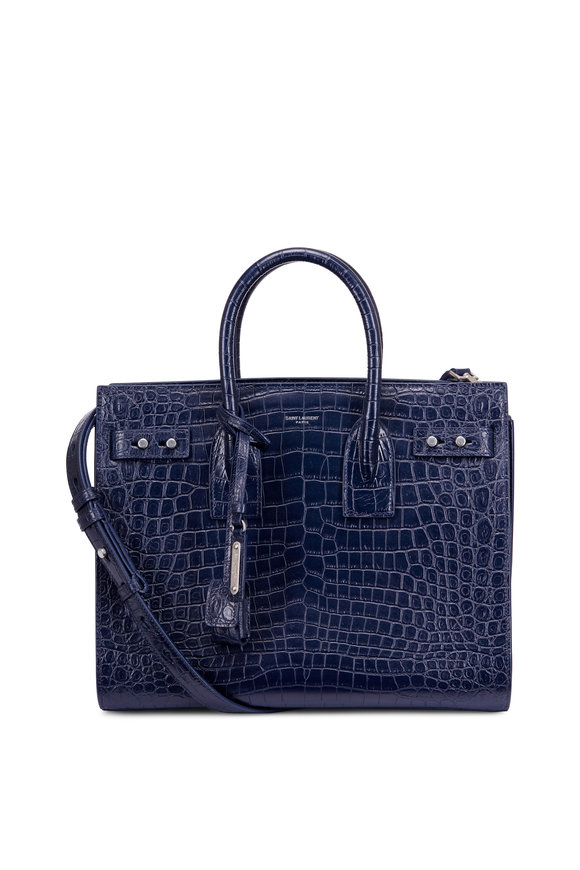 Saint Laurent Sac De Jour Navy Ebossed Croc Small Tote