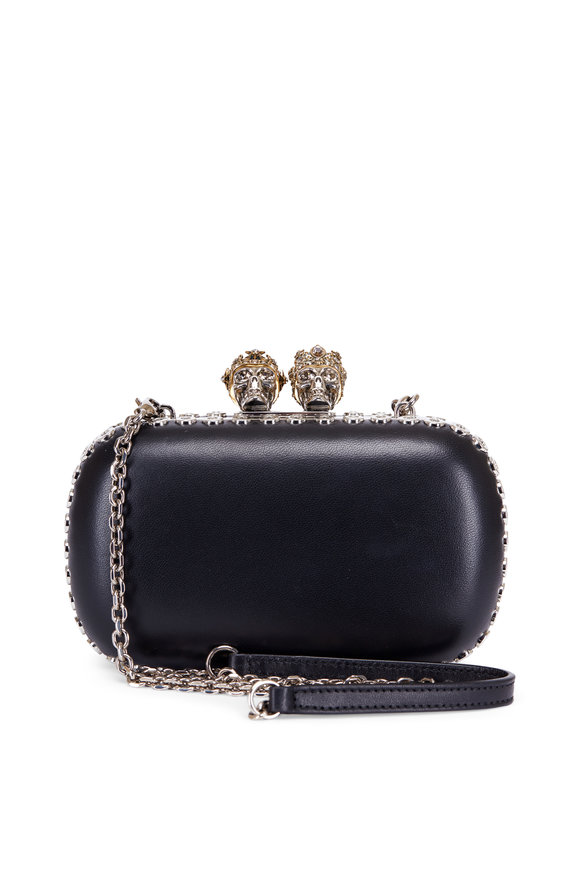 Alexander McQueen Queen & King Skeleton Black Leather Box Clutch