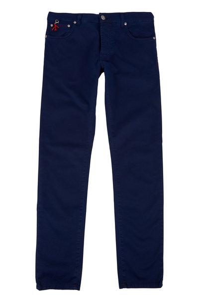 Isaia - Navy Blue Five-Pocket Pant
