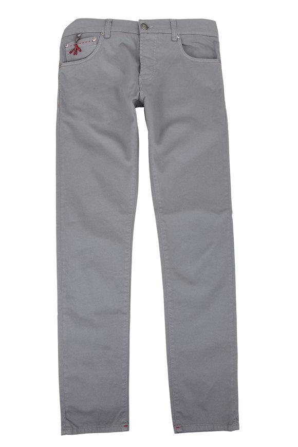 Isaia Gray Five-Pocket Pant