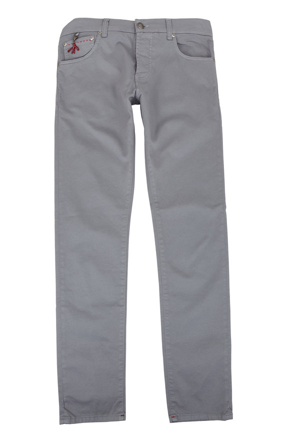 Isaia Gray Five-Pocket Pant