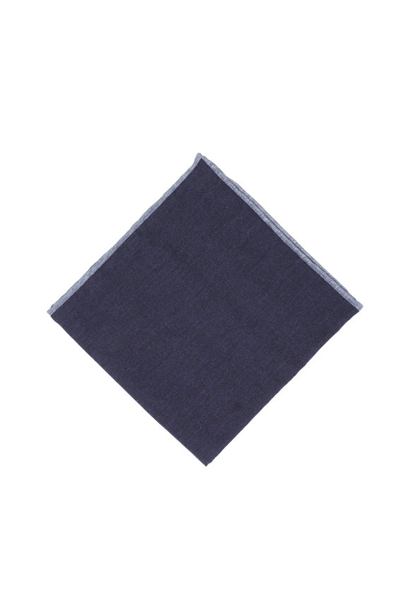 Paolo Albizzati Solid Blue Wool Blend Reversible Pocket Square