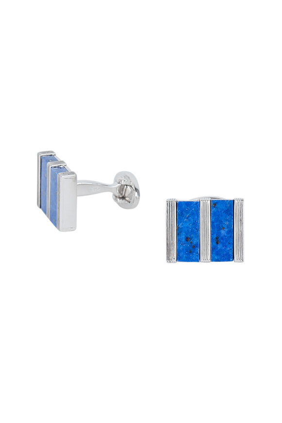 Jan Leslie Retangular Lapis Cuff Links