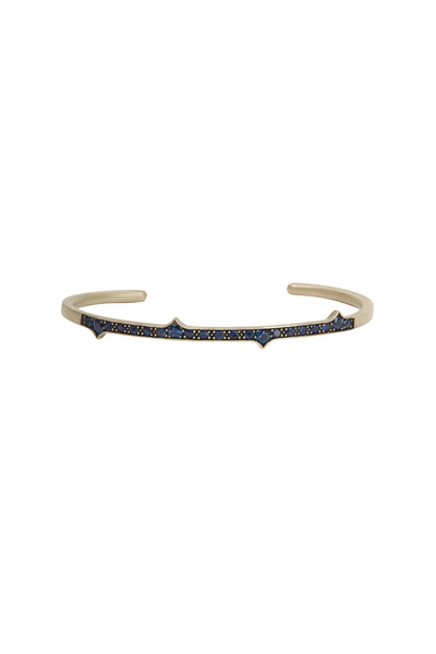 Sylva & Cie - Yellow Gold Blue Sapphire Thorn Bangle Bracelet