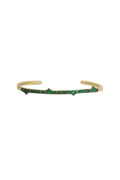 Sylva & Cie - Yellow Gold Green Emerald Thorn Bangle Bracelet
