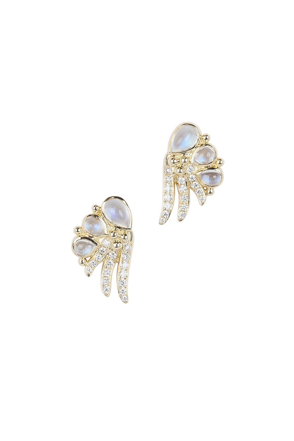 Temple St. Clair 18K Yellow Gold Moonstone & Diamond Wing Earrings