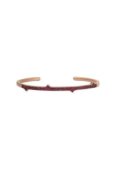 Sylva & Cie - Rose Gold Red Ruby Thorn Bangle Bracelet