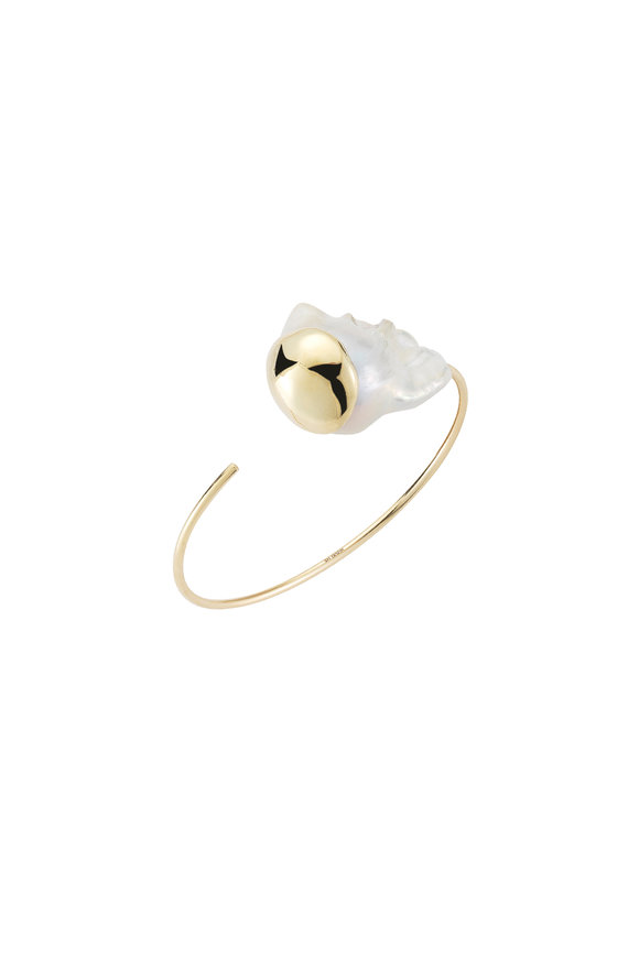 Mizuki 14K Yellow Gold Baroque Pearl Cuff Bracelet