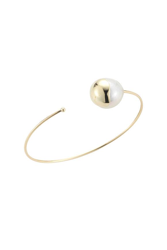 Mizuki 14K Gold Pearl Fluid Cuff Bracelet