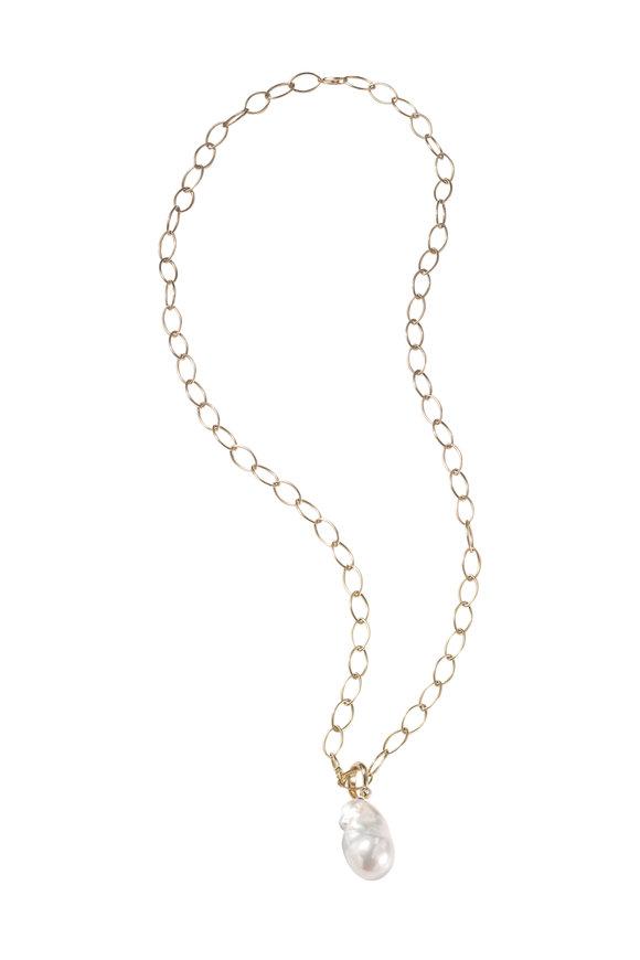 Mizuki Chain Necklace with Pearl Pendant