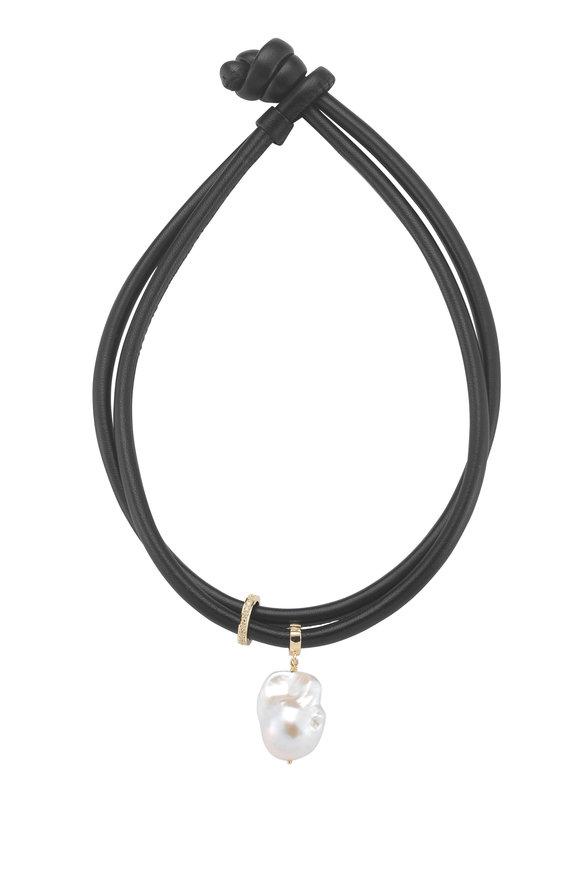 Mizuki 14K Gold & Leather Fresh Water Pearl Necklace