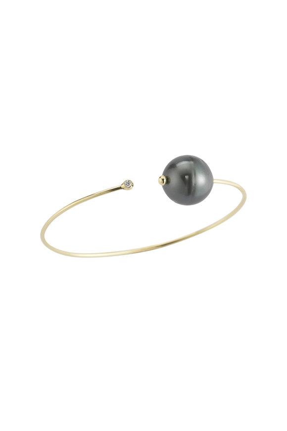 Mizuki 14K Gold Tahitian Pearl & Diamond Cuff Bracelet