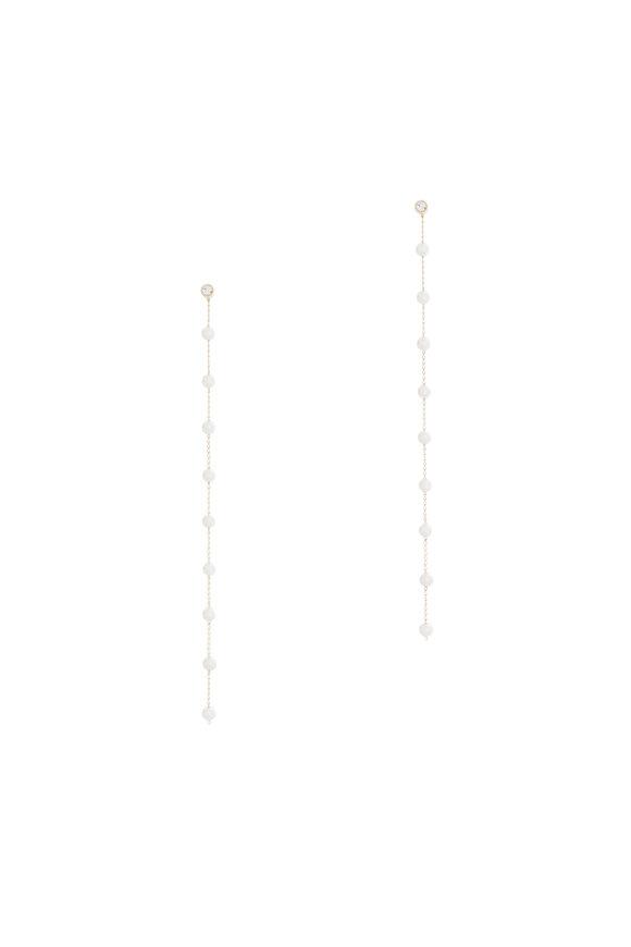 Mizuki 14K Gold Pearl & Diamond Chain Earrings