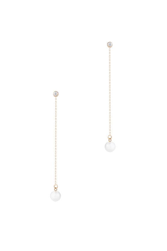 Mizuki 14K Gold Pearl & Diamond Drop Earrings