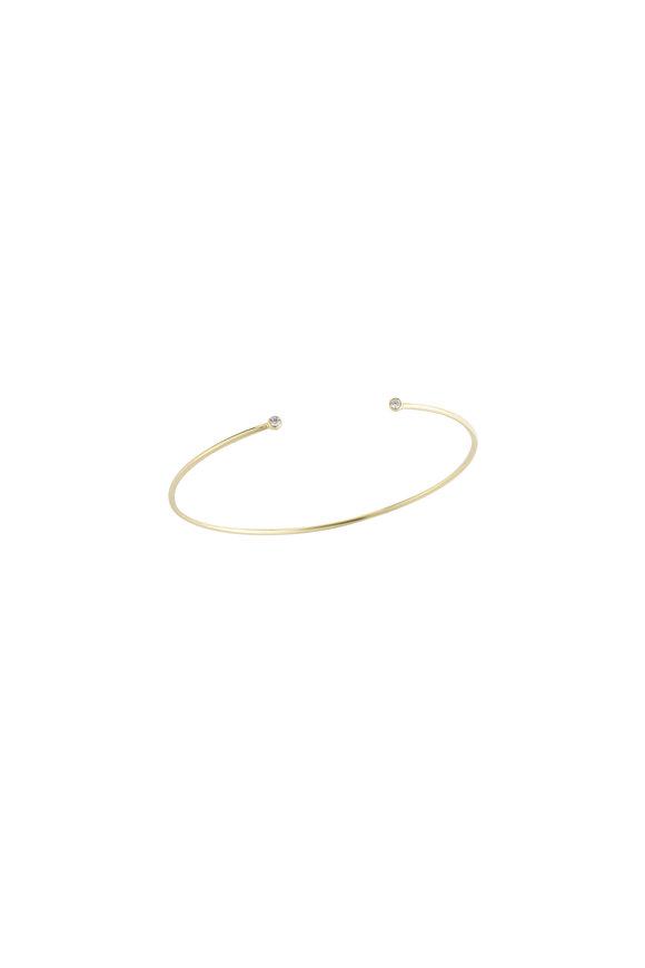 Mizuki 14K Gold Diamond Open Cuff Bracelet