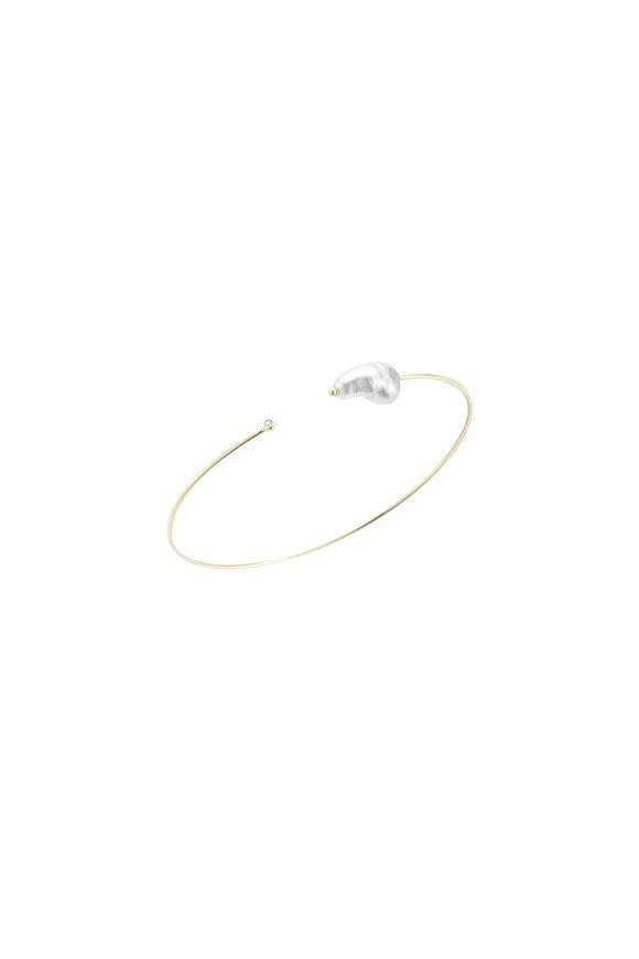 Mizuki 14K Gold Pearl & Diamond Cuff Bracelet