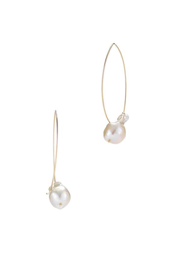Mizuki 14K Gold Fresh Water Baroque Pearl Earrings