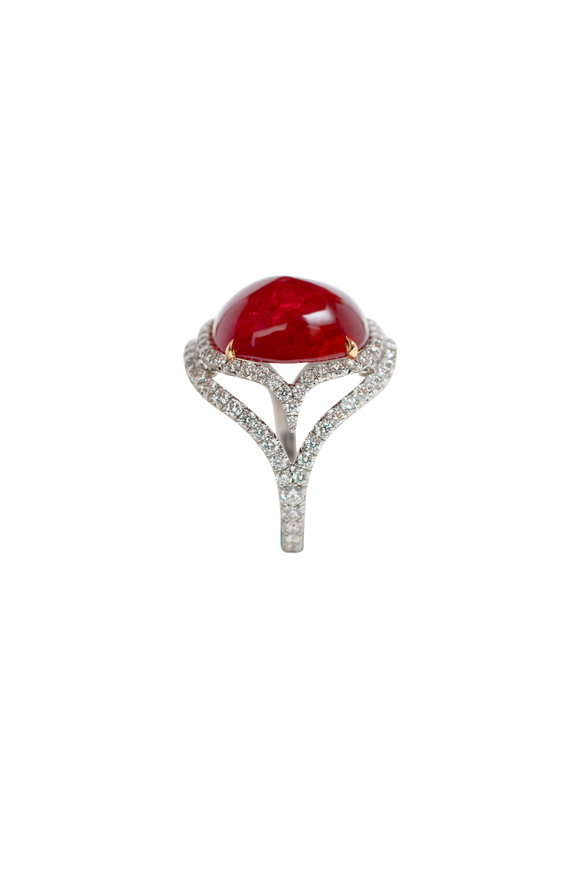 Bayco 18K Gold & Platinum Sugarloaf Ruby & Diamond Ring