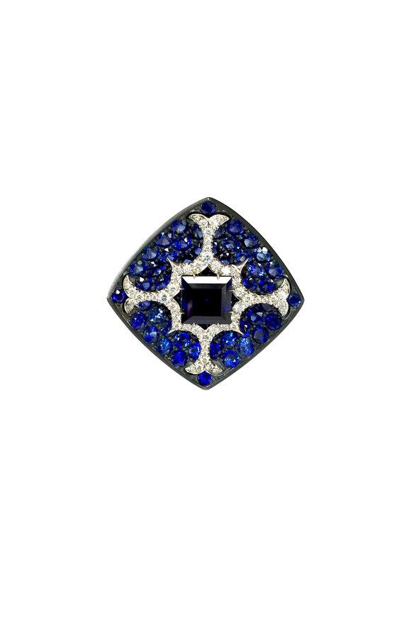 Bayco Platium & Silver Sapphire & Diamond Ring
