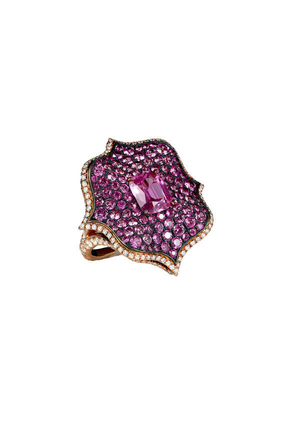 Bayco 18K Gold & Silver Pink Sapphire & Diamond Ring