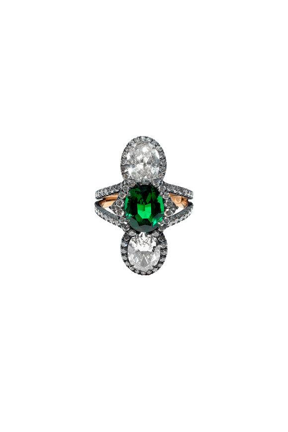 Bayco 20K Gold & Silver Emerald & Diamond Ring