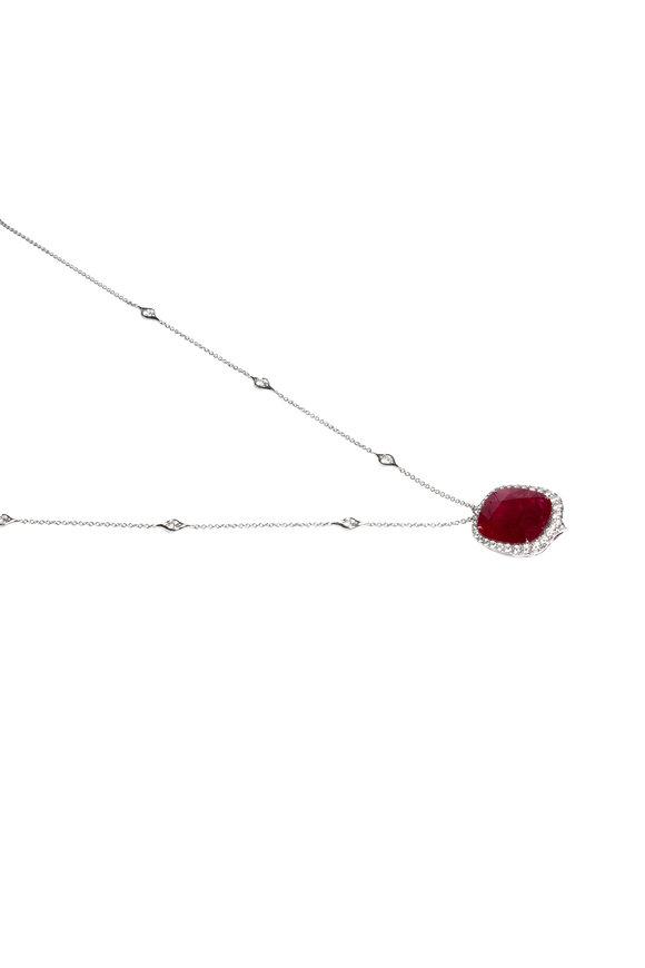 Bayco Platinum Ruby & Diamond Pendant Necklace