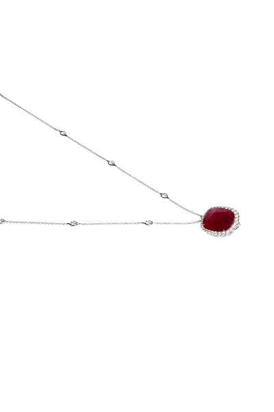 Bayco - Platinum Ruby & Diamond Pendant Necklace
