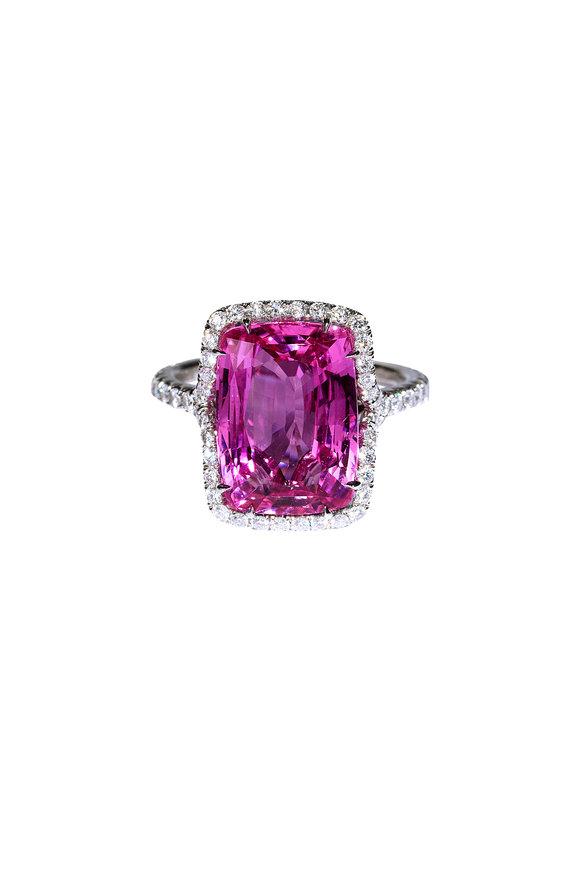 Bayco Platinum Pink Sapphire & Diamond Ring