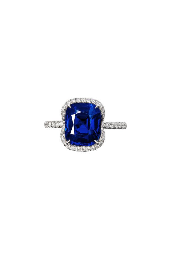 Bayco Platinum Sapphire & Diamond Ring