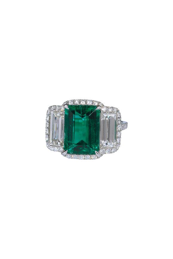 Bayco Platinum Emerald & Diamond Ring