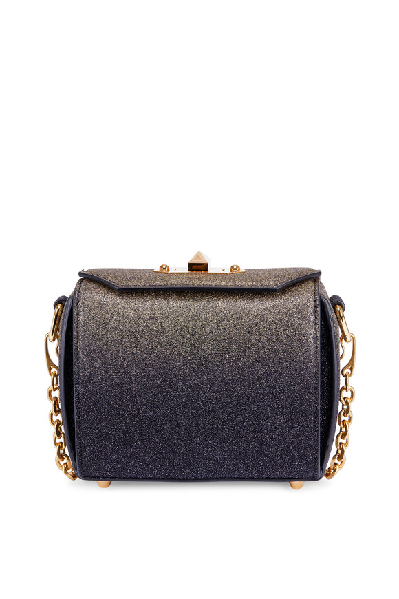 Alexander McQueen Black & Gold Glitter Box Chain Shoulder Bag