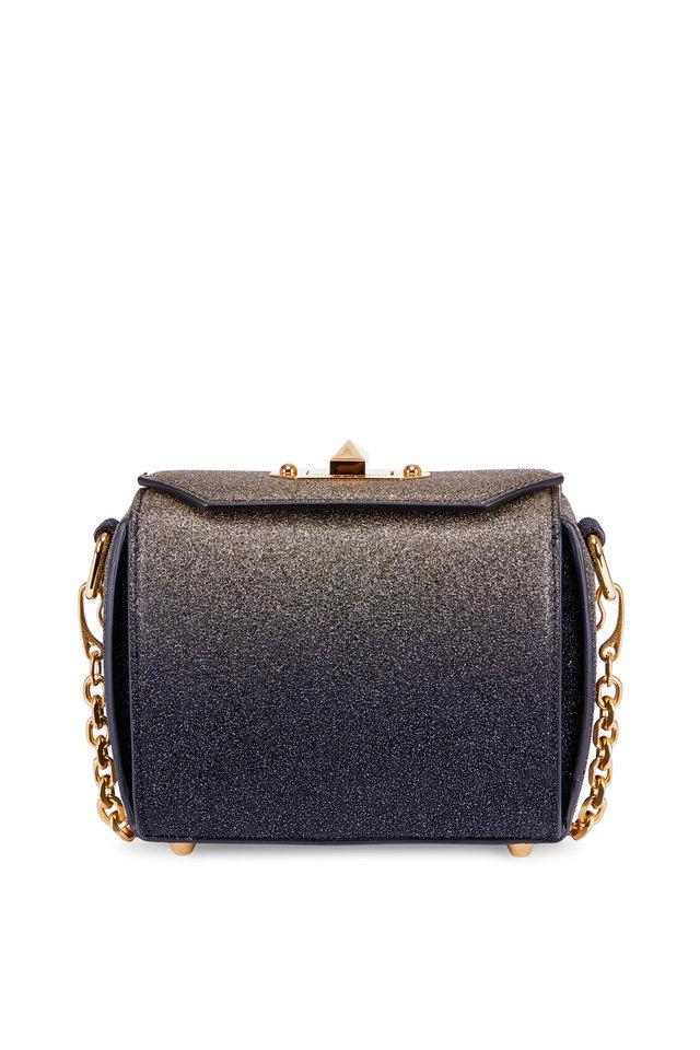 Black & Gold Glitter Box Chain Shoulder Bag