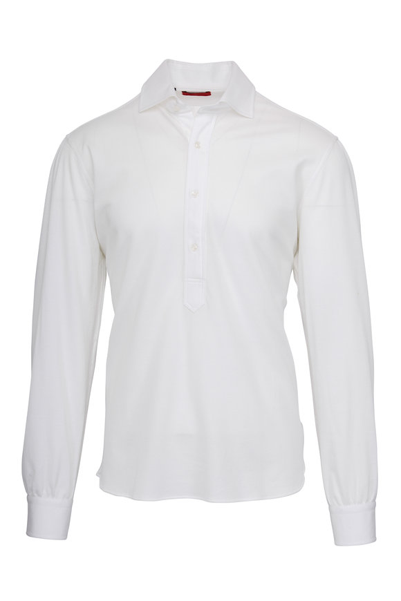 Atelier Munro White Knit Long Sleeve Polo