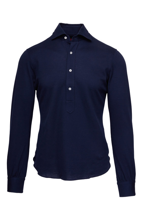 Atelier Munro Navy Knit Long Sleeve Polo