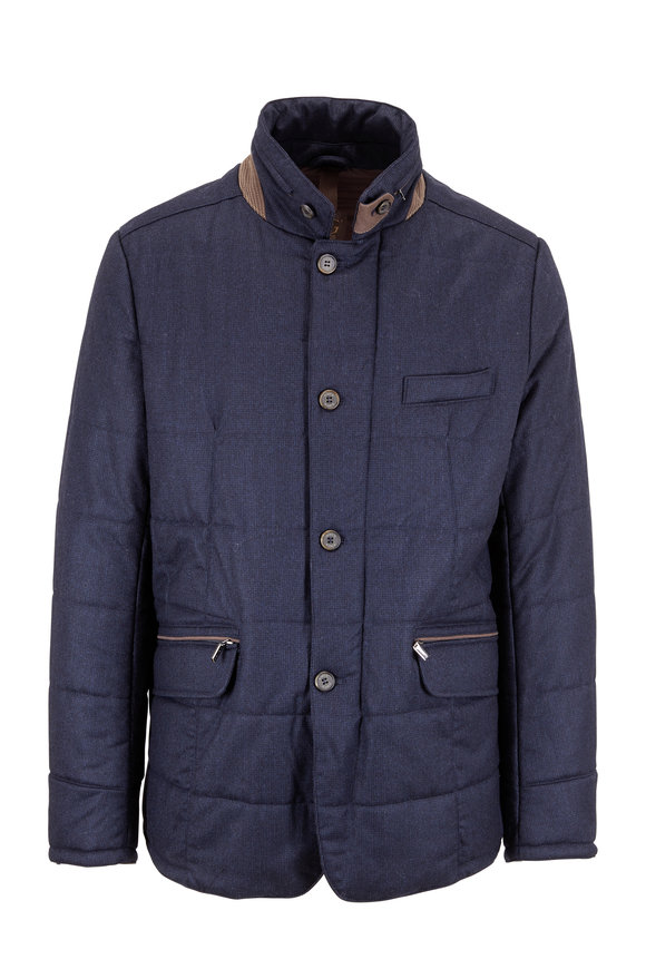 Gimos Navy Blue Wool Quilted Water Repellent Jacket