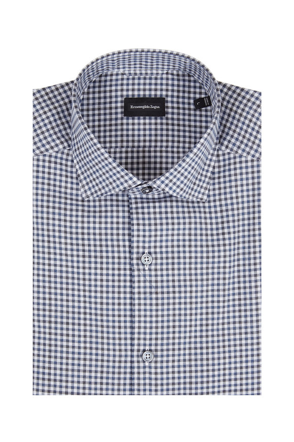 Ermenegildo Zegna Navy & Gray Mini Check Tailored Fit Sport Shirt