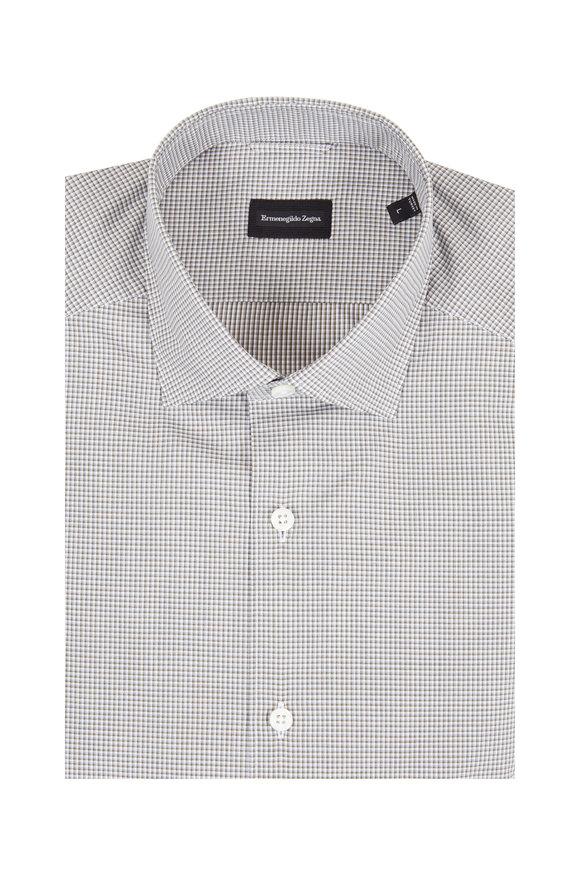 Ermenegildo Zegna Black Mini Check Tailored Fit Sport Shirt