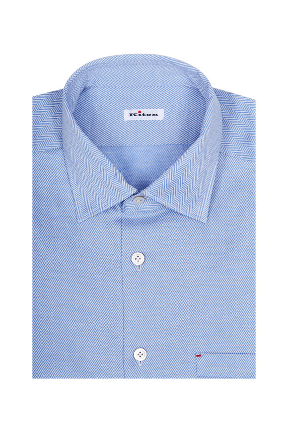 Kiton Light Blue Herringbone Dress Shirt