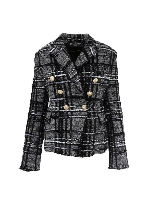 Balmain Gray & Black Tweed Plaid Jacket