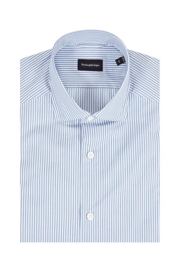 Ermenegildo Zegna Blue Striped Tailored Fit Sport Shirt