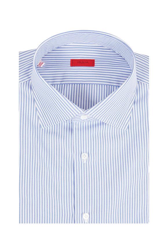 Isaia Light Blue Striped Dress Shirt